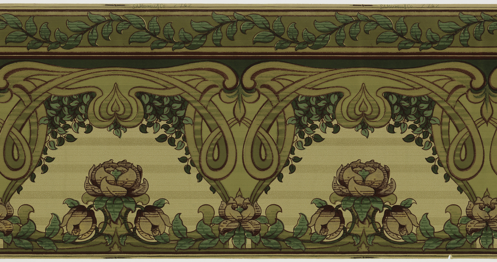 Art Nouveau style. Wide frieze, possibly meant to be cut into wide and narrow borders. Scrolling or scalloped vine with foliage centered between two rods at top. Scrolling flourishes and heart-shaped pendants suspend from foliate band. Stylized foliate motifs in voids under hearts. Printed in colors on horizontally-striped ground.