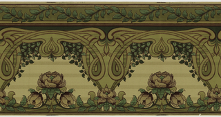 Mission or Art Nouveau. Probably two borders, or a frieze and a border, meant to be cut apart, with the wider frieze at the bottom