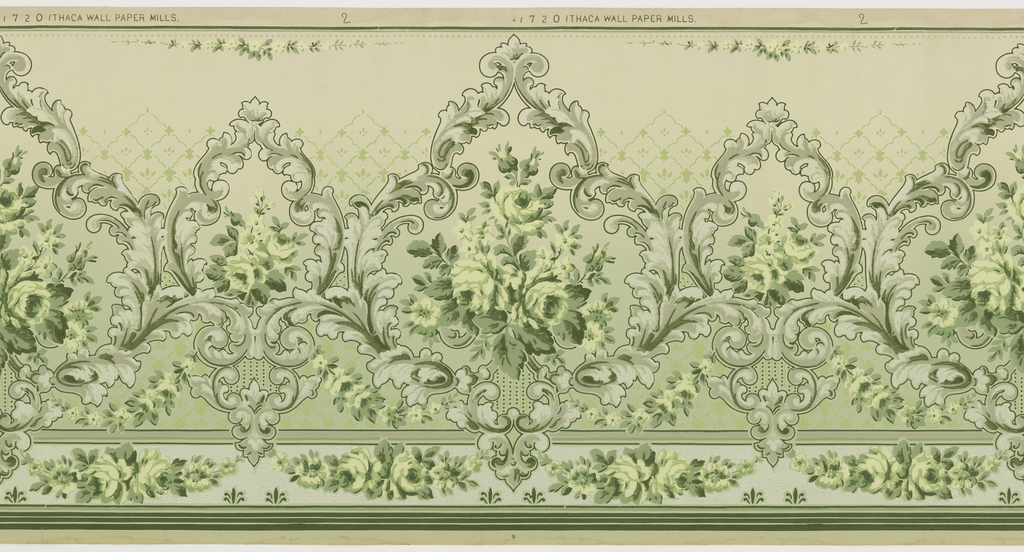 Alternating large and small foliate medallions. A large floral swag hangs beneath the large foliate medallion. Printed in white, and shades of green, gray, and pink.