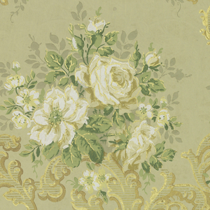 Rococo-style floral design, with bouquets of white roses sitting atop asymmetrical acanthus scrolls. Each of the elements is outlined in metallic gold. Printed in white, green, gray, and metallic gold on a tan or greenish ground.