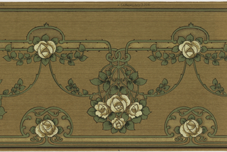Mission or Art Nouveau style. Series of short horizontal lines with one large flower in the center. From these lines hang upside-down bouquets of roses. Bouquets are connected by a swag of leaves. Printed in brown, white, and shades of green on brown ground.