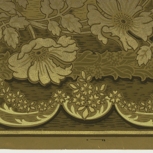 A repeating scrolling, flowering vine design above a lesser scrolling acanthus design. Upon a ground that is overlaid with a water-like design that becomes denser toward the base of the panel. Printed in cream, umber, green, brown, gold and bronze.