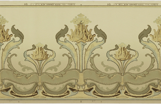 Art nouveau design. Alternating large and small stylized flowers with base. Foliate and stylized scrolls interconnect. Brown and metalic gold stripe and blue beading on top.  Printed in yellow, green, brown, white, and metalic gold on green background.