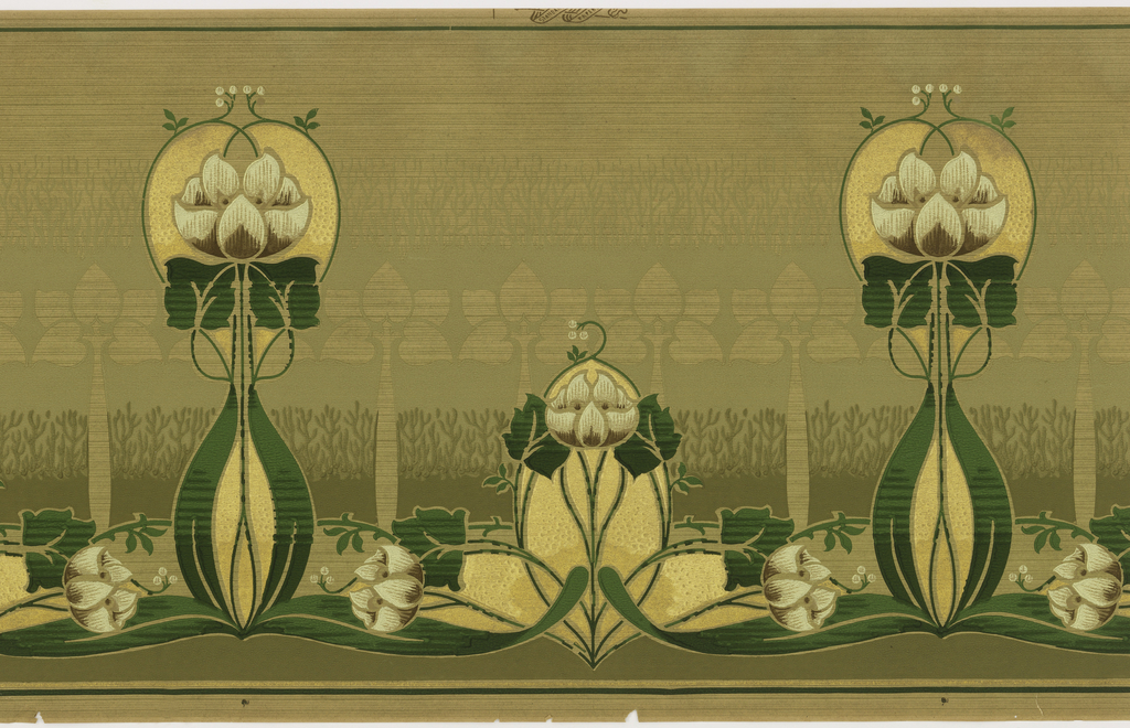 Stylized tulip design, alternating between one tall and one low tulip. Printed in green, white, and metallic gold on tan ground.