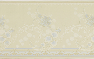 A repeating design of pale blue and mica scrolling acanthus and large leaf in a wave-like composition below a border of simplified architectural motifs. Printed on an ivory ground.