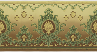 Flitter frieze alternating large and small fleur-de- medallions within acanthus leaf frame. Above these are a series of palmettes and a top border of acanthus scrolls.  Printed in shades of green, brown, beige, sepia and gold mica flakes on a background that shades from deep to light brown.