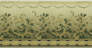 Large, scrolling, acnathus inspired swirls with a simplistic landscape background. A small swag of leafs runs across the top. A series of framed rectangles run across the bottom. Printed in gold, cream, white, brown, black, and shades of green.