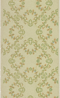 Square shape with wreath-like ornaments in each of the four corners, composed of vining foliage. Small quatrefoils link the squares together. Printed in brown, orange, and green on tan ground with a moire-like pattern.