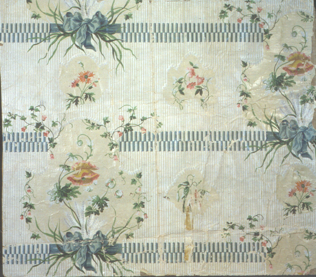 (Louis XVI) horizontal bands with poppies in ribboned cartouches.