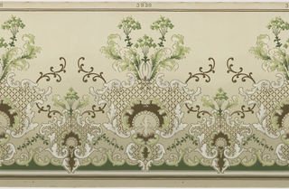 "Series of foliate medallions alternating between large and small, from which ""C"" scrolls and acanthus leaves emerge, curving upwards. A series of  ""C"" scrolls runs across the botttom. Printed in white, brown, and shades of green on tan ground."