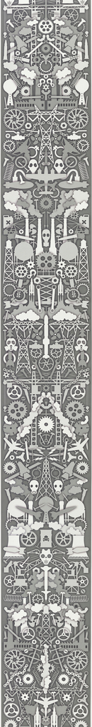 Symmetrical arrangement of motifs, printed in grisaille or shades of gray. Motifs include symbols of industrialization such as factory buildings, electrical towers, and gears, as well as cooling towers, bombs, and containers of toxic waste.