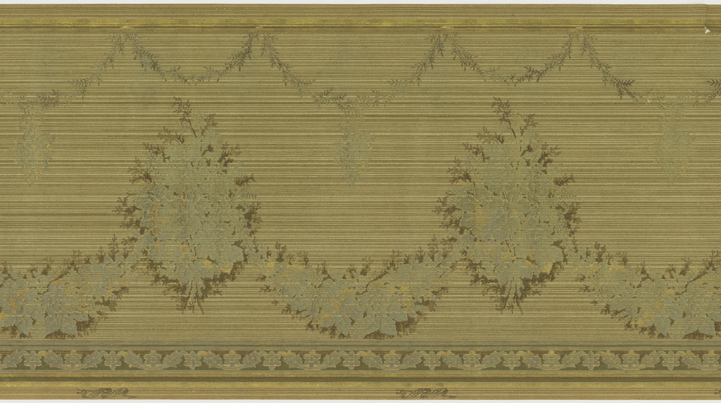 A repeating design of large monochromatic bouquets of flowers interconnected by complementary floral swags. Below a hanging complementary wreath, upon a striated beige and olive green ground. Printed in cream, beige, olive green, rust, silver, gold and bronze.