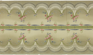 Drapery sways suspended by floral bouquets; band of ribbon across top; printed 2 across.