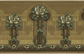 Series of vertical rectangles, alternating between large and small, topped with a large, white rose. Stylized leaves outline the rectangles which are framed by intertwining geometric motifs. A series of flowers and leaves run in a straight line across the bottom. The background has brown, horizontal striations. Printed in brown, white, and shades of green.