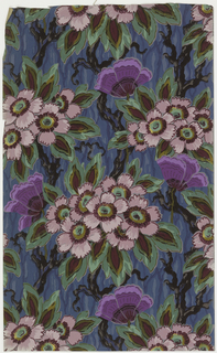 Large spray of stylized flowers on gnarled branches on bark-like ground. Printed in dark brown, taupe, purple, pink, green and yellow on a blue ground.