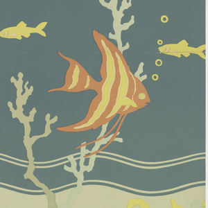 Bathroom paper with fish and seaweed. Large orange and yellow fish in center, turning right. Two small fish above on either side facing left. Yellow bubbles drawn in outline on right underwater plants in foreground - two crossing, passing through center fish. Large wavy stripe topped by three other stripes. Different distances apart. Panel A. Printed on deep blue-green ground.