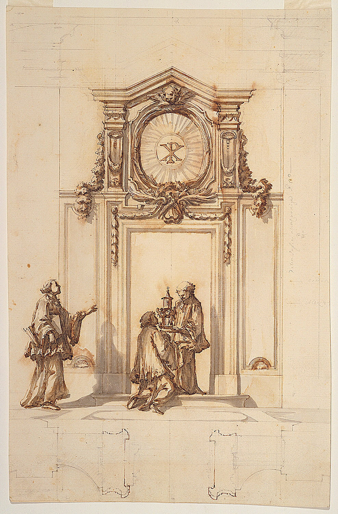 Doorframe is surmounted by a pointed attic pediment, enclosing a medallion, in the center of which is the symbol of Christ (the Chi Rho) amidst a glory of rays. It is framed by palm branches and moldings. On top is a winged cherub's head. A priest standing in the doorway holds a reliquary before a kneeling cleric. Another cleric approaches from the left. Below are two plans.