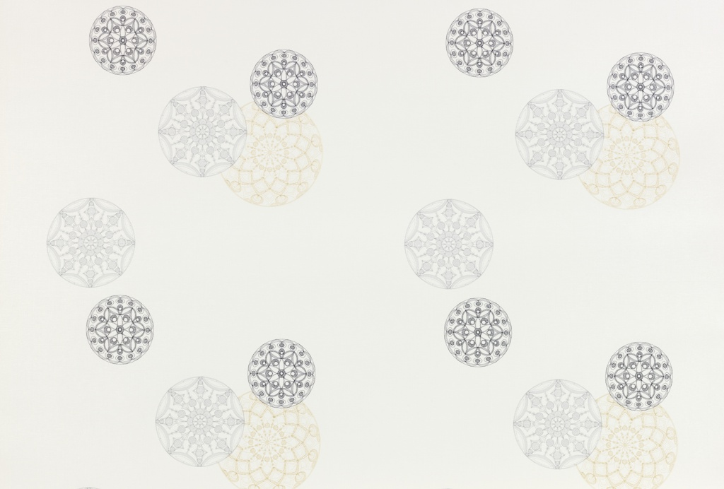 Design contains delicately embroidered circular shapes appearing somewhat randomly placed with some overlapping on a white woven ground. Each of the motifs is embroidered in one of three colors: gray, black or tan with the tan being the largest, the gray medium and the black the smallest in size. The woven backing and embroidery have a slight sheen.