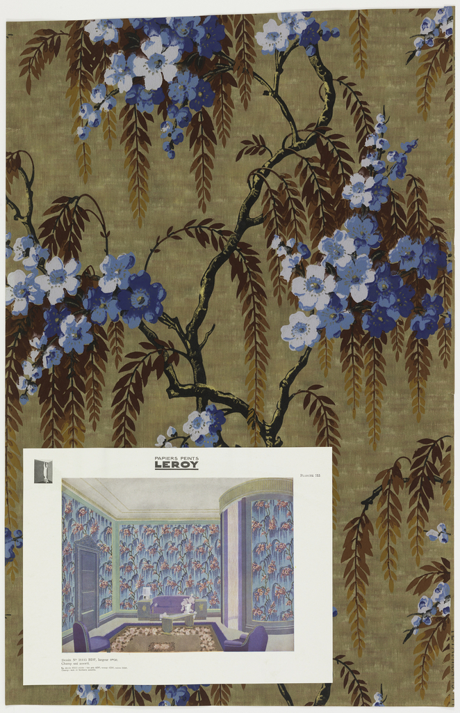 Flowering cherry tree branches with weeping foliage. Printed in black, yellow ocher, blue and brown on a mottled brown ground. Room illustration attached.