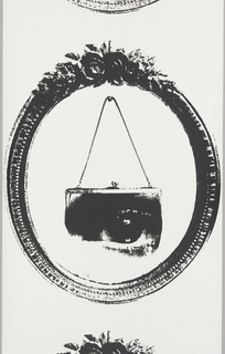 Within an oval frame with floral garnish at top, image of a handbag containing the  image of an eye, suspended from a hook. Printed in black on white.