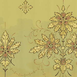 A repeating design of interconnected sprays of gold oak leaves forming a fleur-de-lis design, interspersed by smaller formations of oak leaves, upon a cream gound with a pale green cloud running down the center upon which the sprays are placed, between complementary borders. Printed in cream, celadon green, brown, metallic orange, copper and gold.