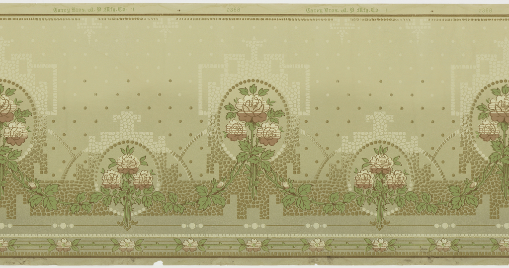 Alternating large and small floral bouquets, each set within a beaded circle, then within a larger architectural framework. The medallions are connected by floral and foliate swags.