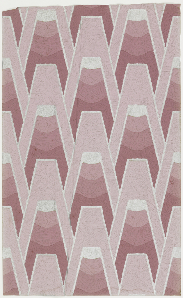 Flattened triangular shapes in graduated shades of pink with silver outline. Printed in shades of pink and silver on embossed paper resembling brush strokes.