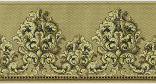 Anthmion of alternating large and small acanthus.  Beading and stipes on bottom. Textile simulated background. Printed in green, white and tan.