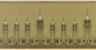Mix of Mission and Art Nouveau styles. Alternating large and small vertical rectangles topped with an abstracted bulbous shape surmounted by a small fleur-de-lis. Bottom portion contains swags which lead up into the rectangles. Above each swag are abstracted ivy leafs and below are acanthus inspired decorations. Background contains horizontal straitions. Printed in brown, white, and shades of green.