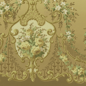 A repeating design of cartouches filled with bouquets of flowers interconnected by flowering vines upon a coffee brown blending into pale beige ground. Between borders of tan, yellow and green. Printed in celadon, forest green, yellow, ocher, brown, beige, white and pink.
