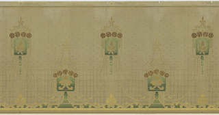 Mixture of Mission and Art Nouveau style. Alternating rectangular shapes with a floral motif in the center and a curved line of flowers at the top, surmounted by a fleur-de-lis motif. The rectangles are connected by a series of thin swags. Printed in gold, cream, red, and shades of green.