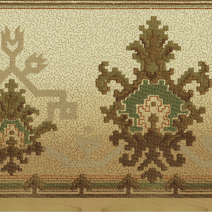 Alternating large and small medallions simulating cross stitch or needlepoint; printed on a gradient ground Two borders printed across the width.