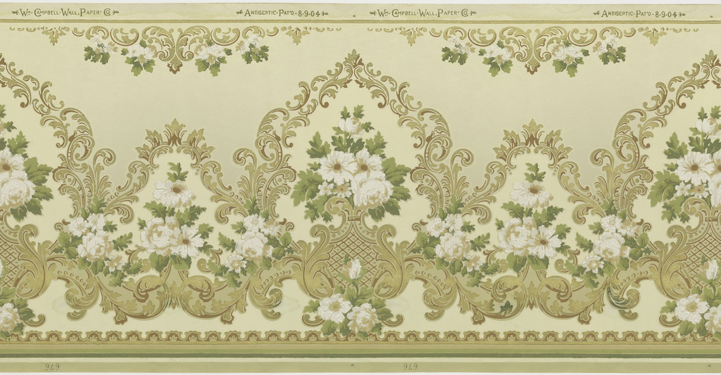 Floral bouquet set within foliate scroll medallions, alternating large and small.