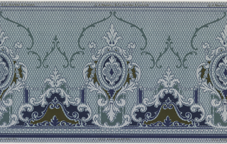 A repeating design of alternating cartouches of midnight blue burnt umbre and mica, and corinthian columns of complementary colors and mica acanthus leaves, upon a pale turquoise ground with a geometric overlay in midnight blue, dark green and mica.
