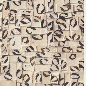 Digital print of a collage containing paper bits cut from hand-written sheet music. Each bit of paper contains a single notehead of whole and half notes with the musical stems removed.