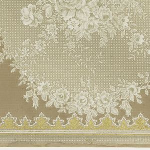 A repetitive design of floral bouquets, interspersed by gold fleur-de-lis, upon a striated background bordered on the bottom by complementary floral swags above a taupe ground, above a gold border complementary to the fleur-de-lis. Printed in white, taupe, gray and gold.