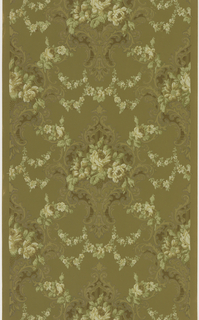 Floral design with acanthus scroll medallions filled with a bouquet of white roses. Medallions are linked by floral swags or garlands. Printed in white, green, tna, and brown on light brown ground.