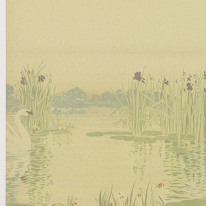 Swan, at left, in lily pond. Printed on cream ground.