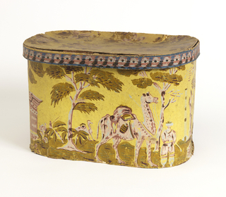 Figure in Middle Eastern attire leading camel with another camel in the distance. Large trees in the middle ground. Printed in pink or mauve and green on yellow ground.