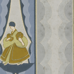 Scalloped stripe with attached border; stripe composed of graduated scallops draped to reveal female figures in 18th century costume; attached border contains three female figures dressed in same manner. Printed in three shades of grey, three shades of blue, gold and ochre.