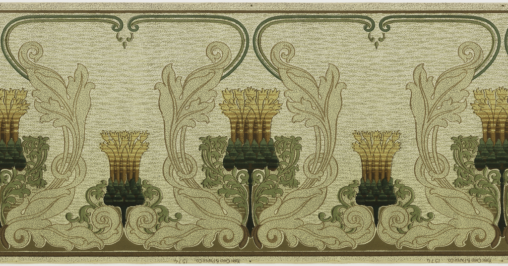 Art nouveau design. Alternating large and small stylized floral motifs. The large motif is within a scrolling acanthus wreath, connected at the top by scrolling lines.
