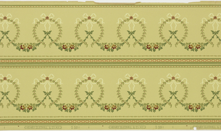 Repeating motif of foliate wreath with a bow knot at top, suspended floral swag connecting each of the wreaths. Printed two borders across the width. Printed in red and green on yellow-green ground.