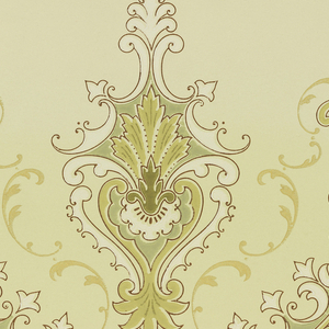 Swag or scalloped design with foliate medallions equally spaced atop points and in center of swag. Band of scrolls across bottom. Small pendant flourishes suspend from top edge. Printed in white, green, and metallic gold on green ground.