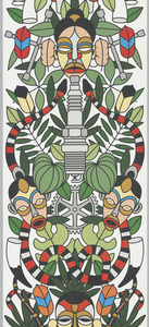 Dense pattern combining traditional icons such as African masks, snakes and tropical foliage interspersed with tire wrenches, spark plugs and gears. The traditional motifs are printed in bright colors while the more contemporary icons are printed in gray.
