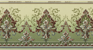 Floral bouquet set within a foliate medallion. Band of folaite motif runs across bottom, interspersed with floral bouquets. The background shades from deep green at the bottom to a light yeloow-green at the top. Printed in shades of burgundy, green and white.