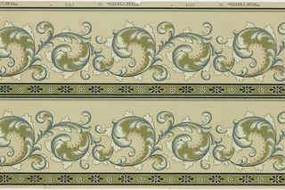 Acanthus rinceau with band of floral motif along bottom; printed 2 across.