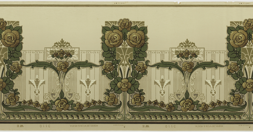 Very stylized floral motif. Main motif contains six roses and foliage. This alternates with a smaller rose and foliage motif. Printed in shades of brown, tan, and green on tan ground.