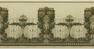 Very stylized floral motif. Main motif contains six roses and foliage. This alternates with a smaller rose and foliage motif. Printed in shades of brown, tan and green on tan ground.