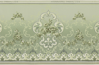 Large white acanthus scroll medalions connected by alternating high and low  floral swag.   Acanthus arbor throughout design.  Repeating organic pattern along base.  Printed in various greens and white.