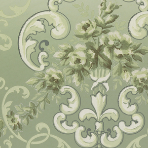 Large white acanthus scroll medallions connected by alternating high and low floral swag. Acanthus arbor throughout design. Repeating organic pattern along base. Printed in shades of green and white.